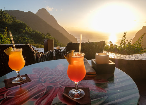 laderaresort stlucia westindies caribbean sunset cocktail sugarbeach grandpiton
