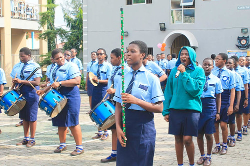 The Marywood Girls College School band performing during World Teachers' Day