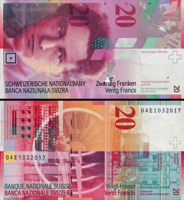 20 Frankov Švajčiarsko 2004, P69c