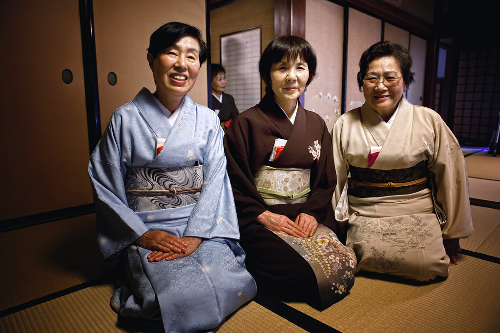 Japanese Women Attending A Tea Ceremony Class