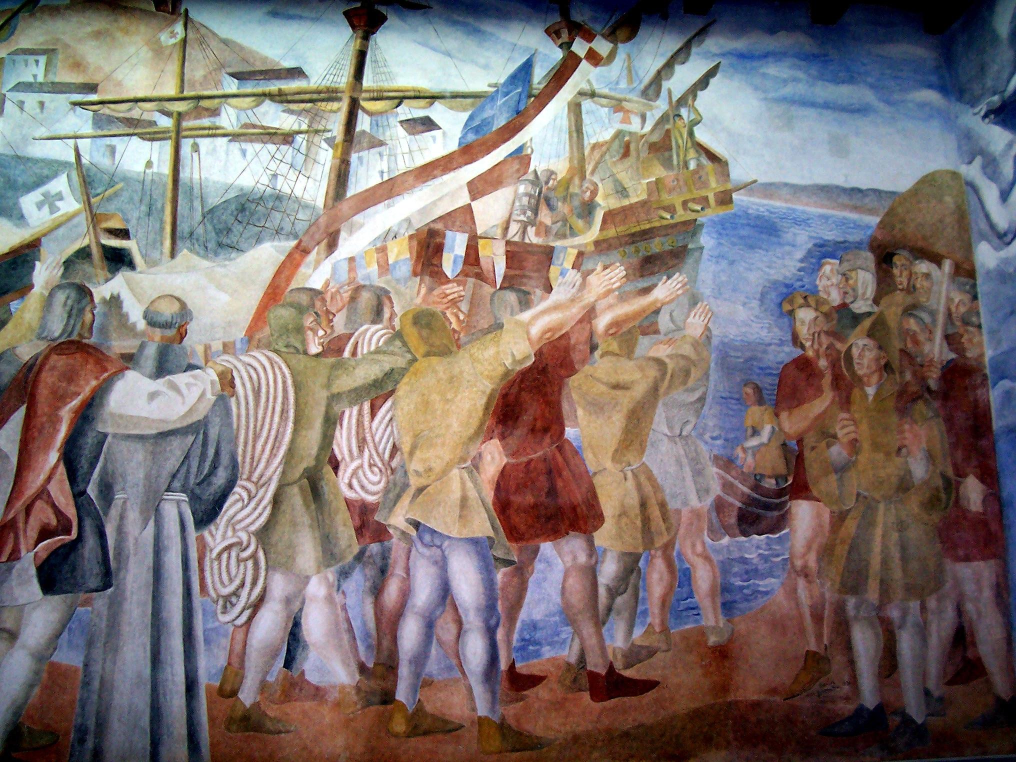 Frescos by Daniel Vázquez Diaz at La Rábida. Photo taken on August 4, 2006.