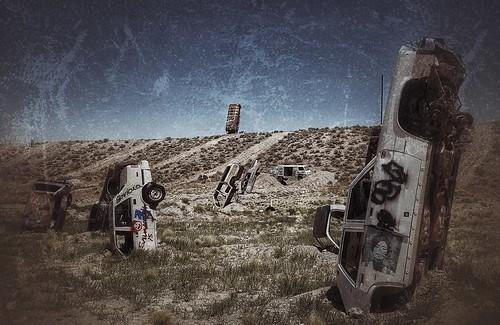 desert cars bus wrecks art internationalcarforestofthelastchurch caricatures rust ghosttown goldfield nevada abandoned forest filter snapseed texture