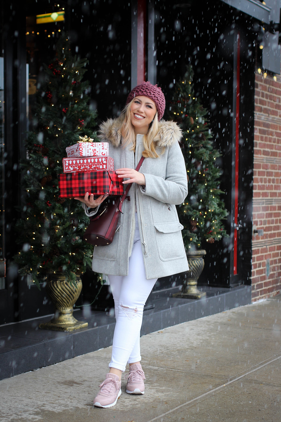Cozy Comfy Holiday Athleisure Outfit Reebok Harmon Sneakers JCrew Parka