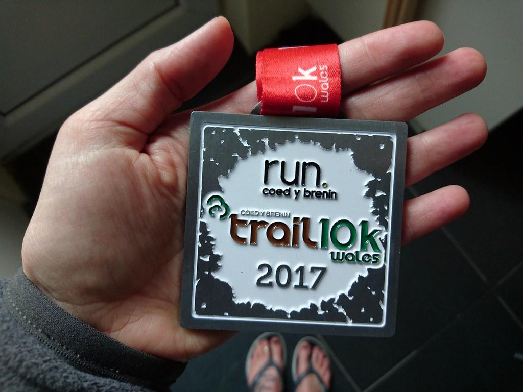Coed y Brenin medal for 10K trail race