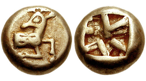 Electrum coin from Ephesus, depicting forepart of stag and square incuse punch