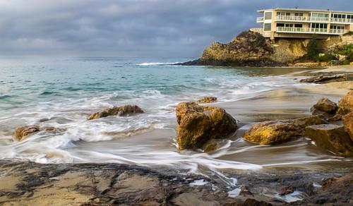california diverscove lagunabeach nikon nikond5300 pacificocean beach cliff clouds geotagged longexposure morning ocean rock rocks sand seascape seashore shore sky water unitedstates