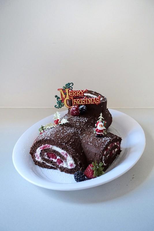 Chocolate, raspberry and cream Bûche de Noël