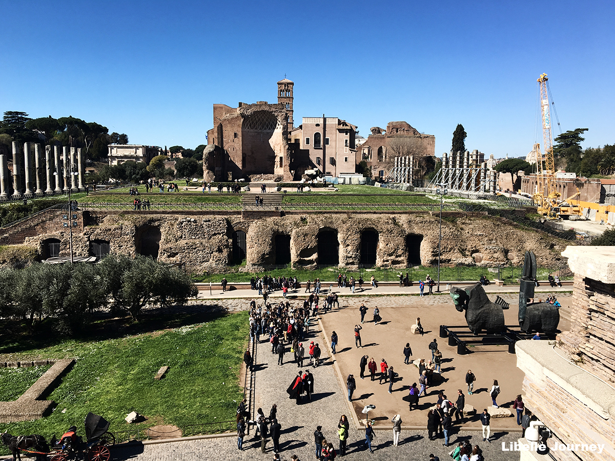 Roman Forum: Temple of Venus and Roma and ruins of Nero's palace