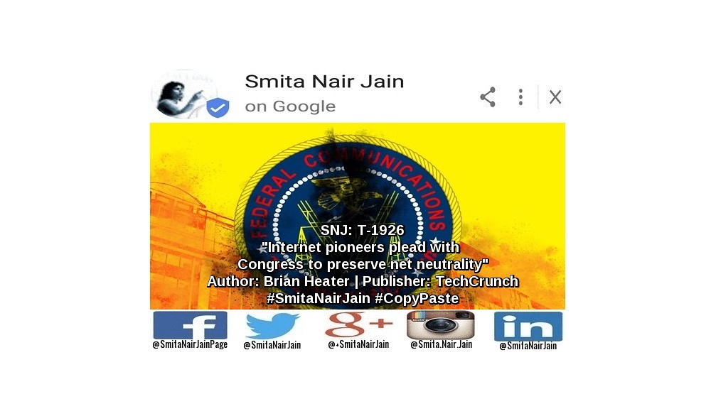 Smita Nair Jain on #Google   SNJ: T-1926: