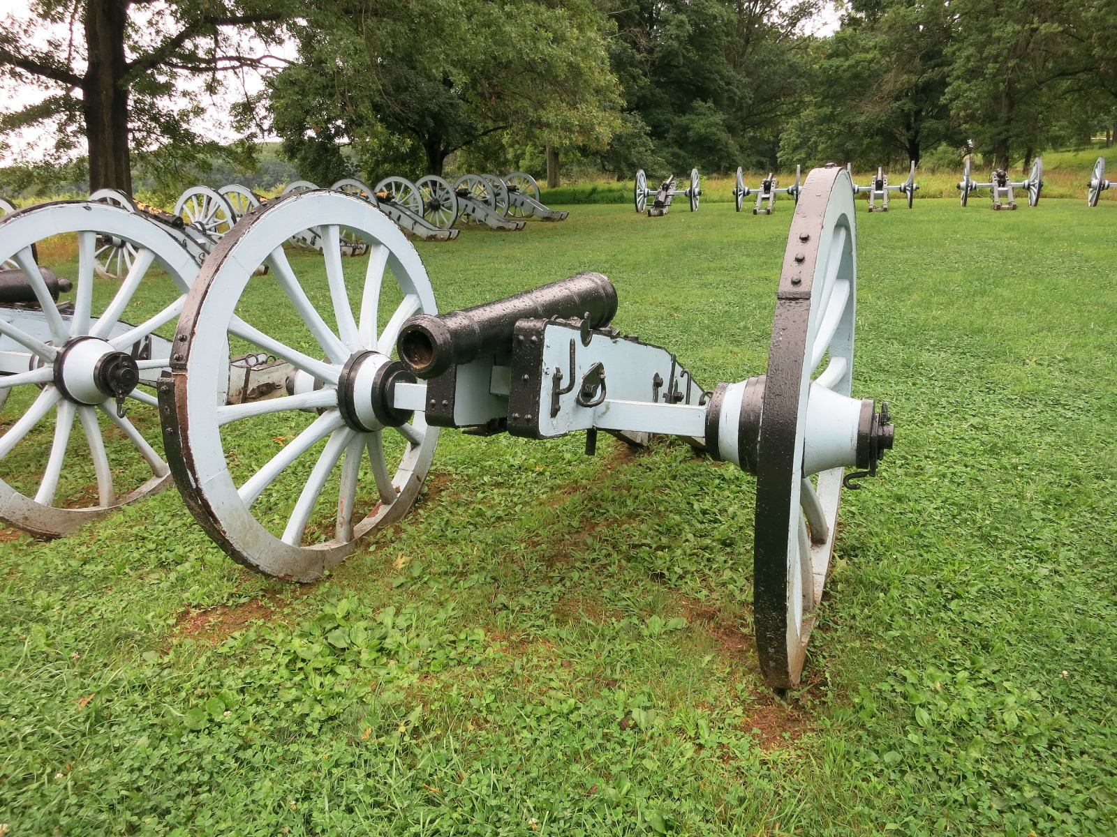 Replica cannons in the Artillery Park at Valley Forge National Park. The Artillery Park is located east of the parking lot on East Inner Line Drive. Photo taken on August 22, 2014.