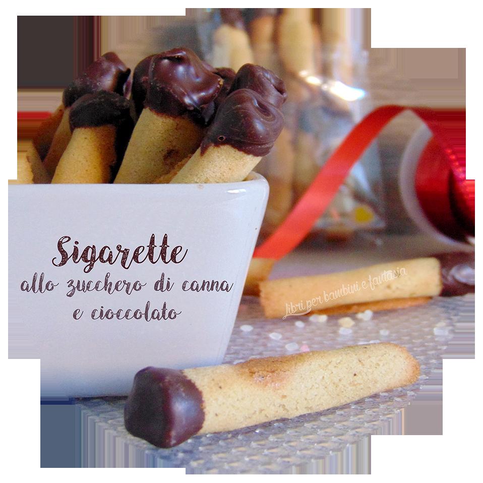 Sigarette allo zucchero di canna e copertura al cioccolato