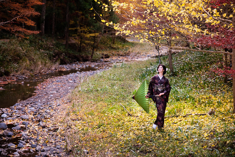 Scenery with kimono of autumn in Japan