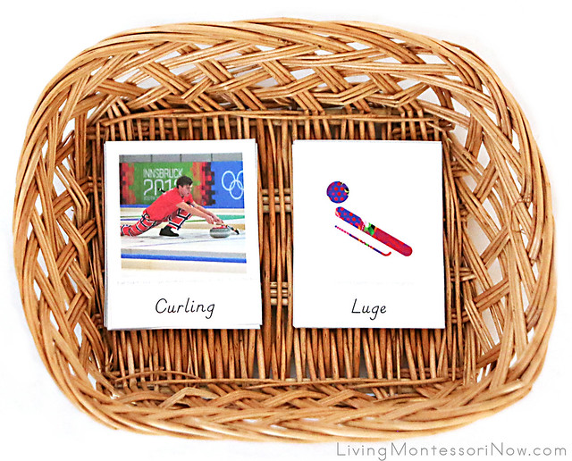 Basket for Matching Winter Sport Photos with Pictographs