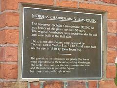 Photo of John Toone, Thomas Larkin Walker, Nicholas Chamberlaine, and Nicholas Chamberlaine's Almshouses bronze plaque