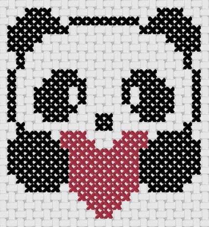 Preview of Simple cross stitch patterns: Panda Love