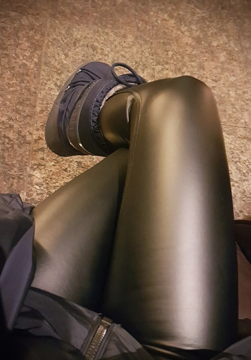 shiny black pants