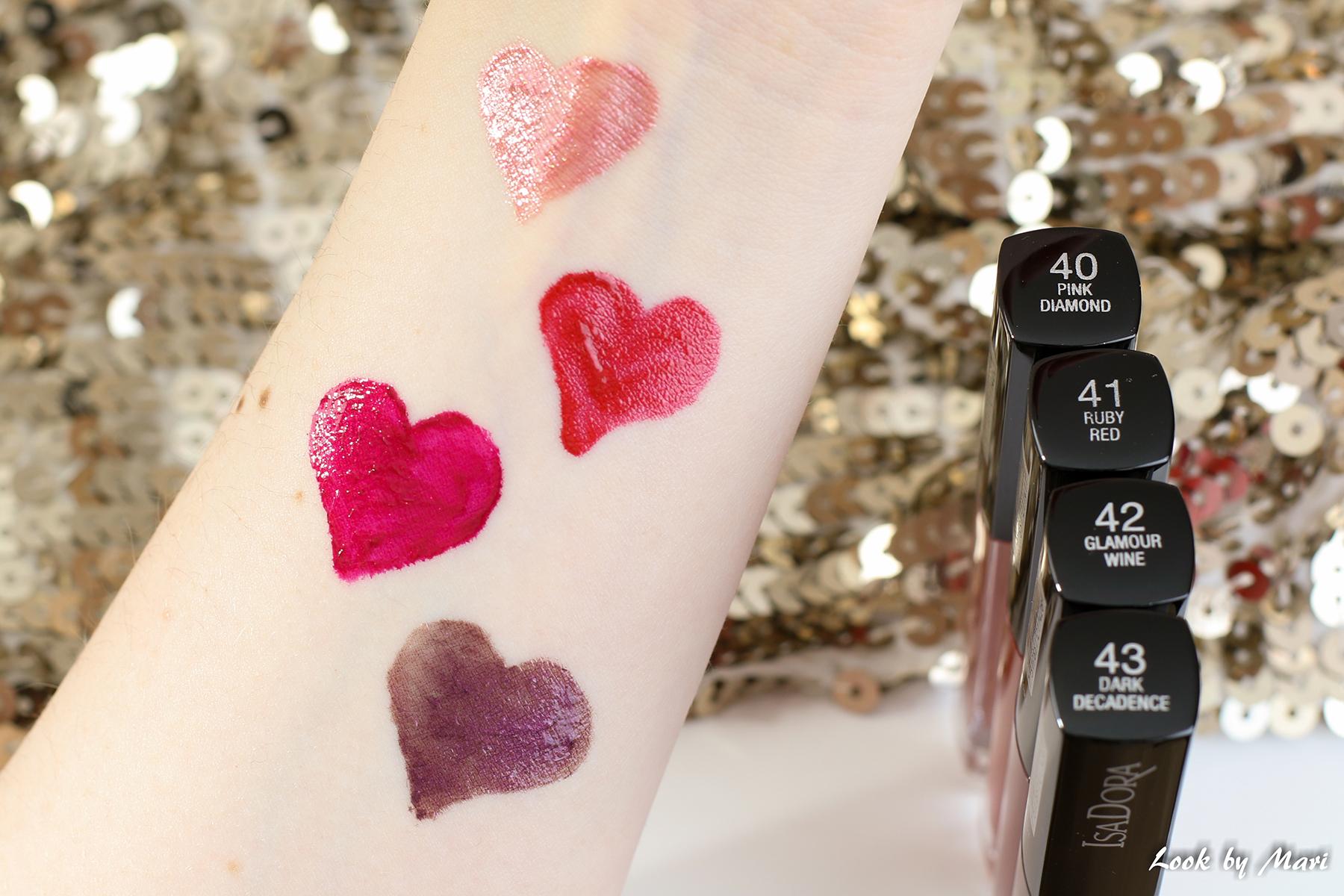 9 isadora liquid lip chrome swatches swatch review kokemuksia sävyt blogi blog