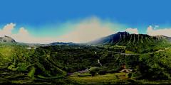 Ho'omaluhia Botanical Gardens on the Windward side of the Ko'olau Range on O'ahu in Hawai'i  - an aerial 360 VR from 323 feet