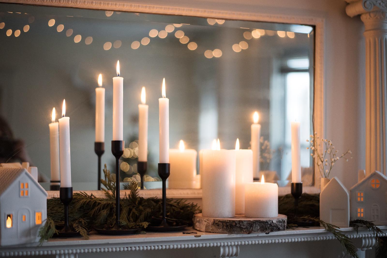 Candles and Greenery on juliettelaura.blogspot.com