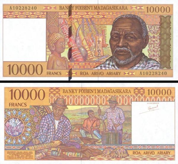 10 000 Frankov=2000 Ariary Madagaskar 1995, P79b