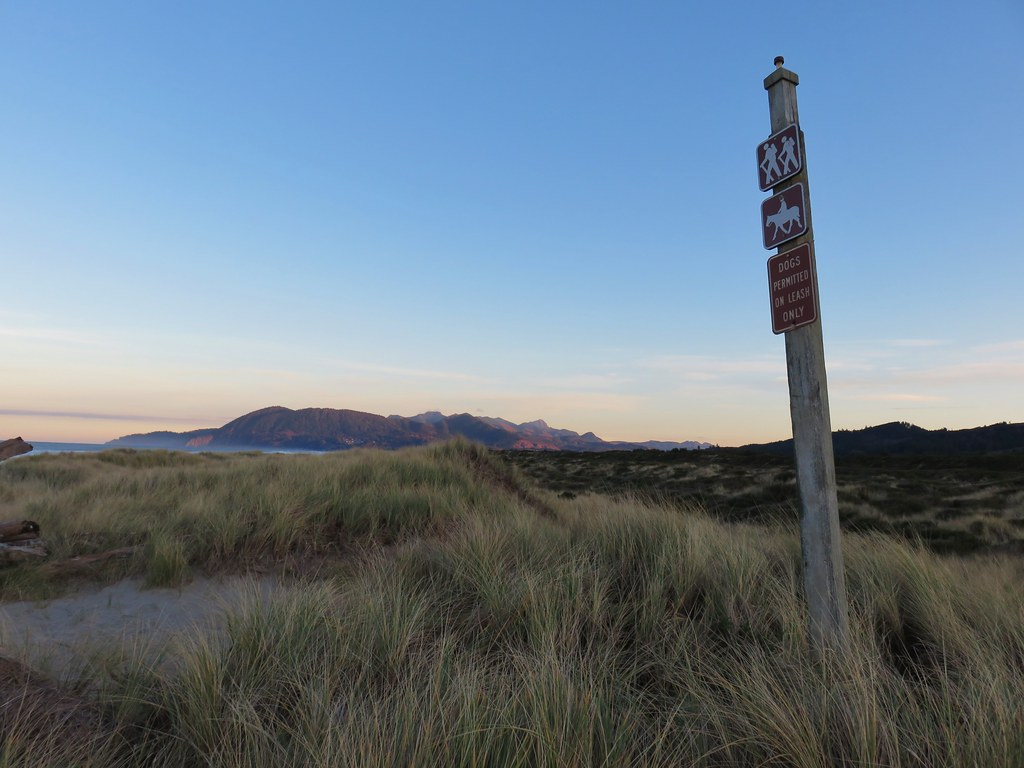 Hiker post on Nehalem Spit