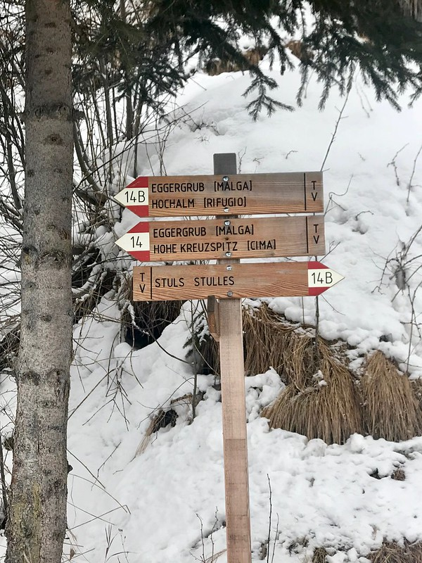 Signpost for Egger-Grub Malga