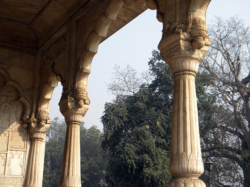 Decorative marble pillars in the Red Fort in Delhi, India