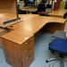 Cherry l shape radial desk so comes with ped E225!