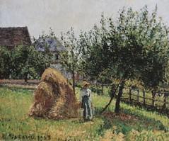 Pommiers et meule à Eragny, matinée de soleil (C Pissarro - PDRS 1503)