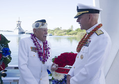 "Adm. Scott Swift and Pearl Harbor survivor Delton ""Wally"" Walling talk aboard the USS Arizona Memorial following a floral tribute, Dec. 7. (U.S. Navy/MC1 Nardel Gervacio)"
