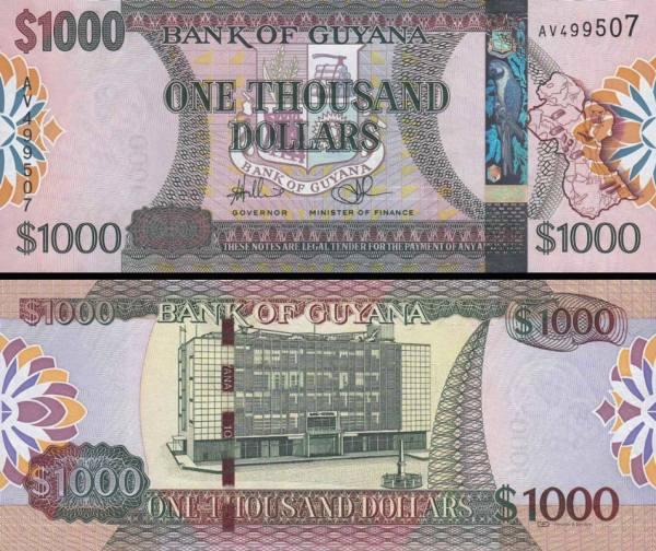 1000 Dolárov Guyana 2005-2009, P38