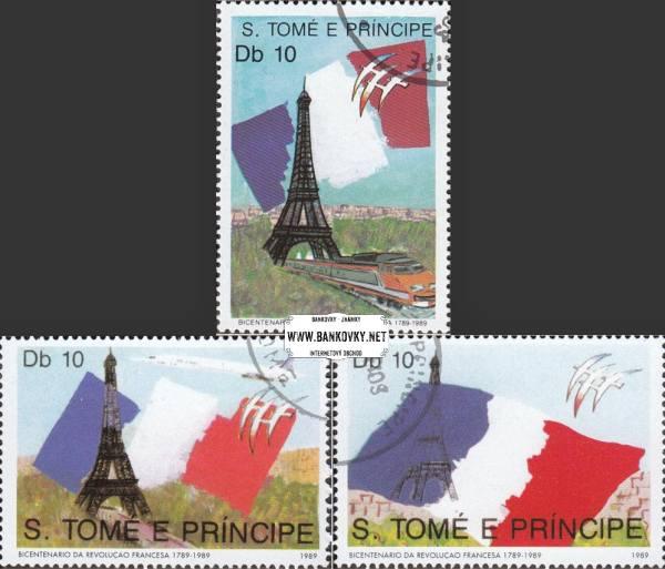 Známky Svätý Tomáš 1989 Francúzska revolúcia, razítk. séria