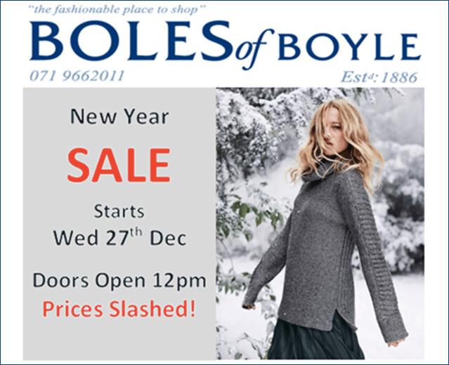 Boles of Boyle New Year Sale
