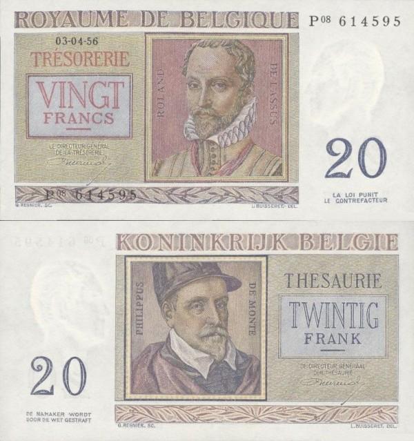 20 belgických frankov Belgicko 1956, P132b