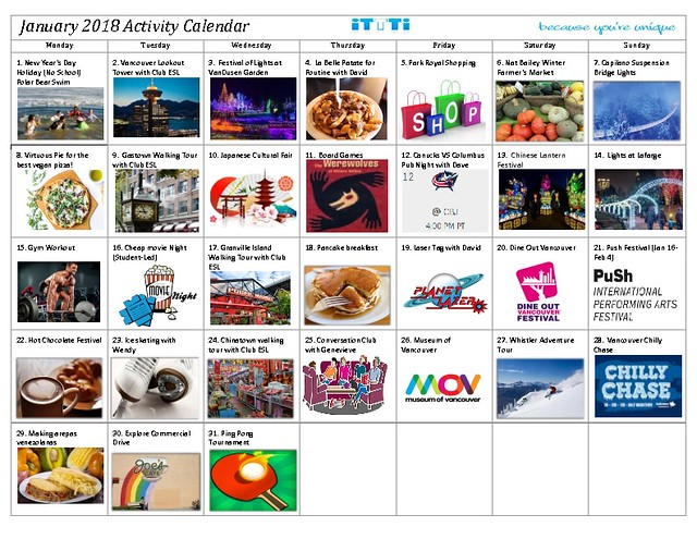 January 2018 - Activity Calendar