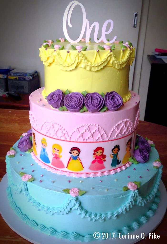 Baby Disney Princess Themed 1st Birthday Cake