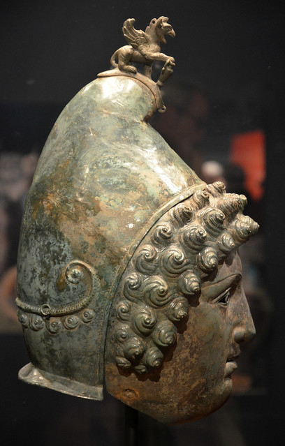 The Crosby Garrett Helmet, a copper alloy Roman cavalry helmet dating from the 1st half of 3rd century AD, found by an unnamed metal detectorist near Crosby Garrett in Cumbria in May 2010, Hadrian's Cavalry exhibition, Hadrian's Wall