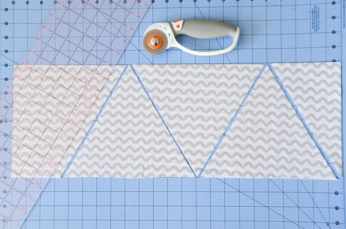 """Repeat marking 9.25"""" and cutting to previous corner until you run out of fabric."""