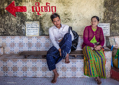 Devotees resting during the climb up Mt. Popa monastery - Myanmar