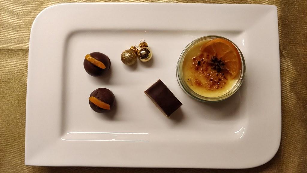 Orangen Crème brûlée und Lebkuchenmousse
