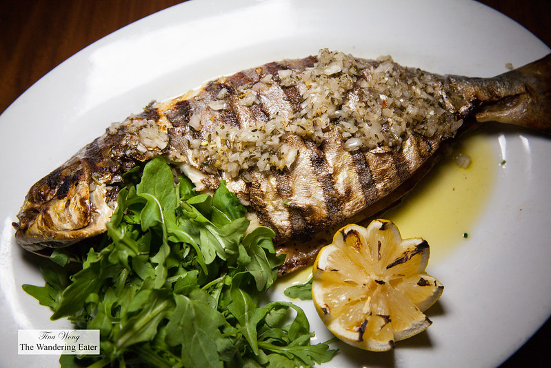 Grilled Florida pompano with garlic and chili pepper