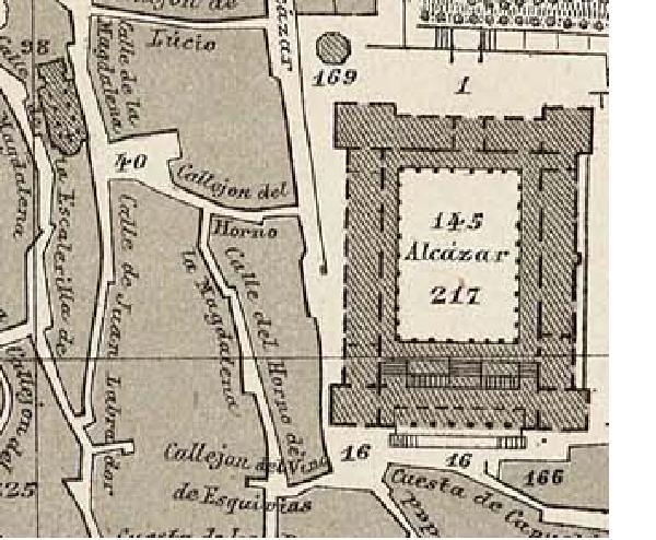 Calles del entorno del Alcázar (antiguo Arrabal de los Francos) en el plano de Reinoso de 1882