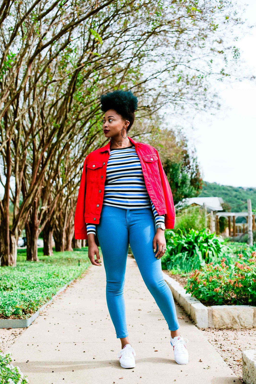 how to style a red denim jacket
