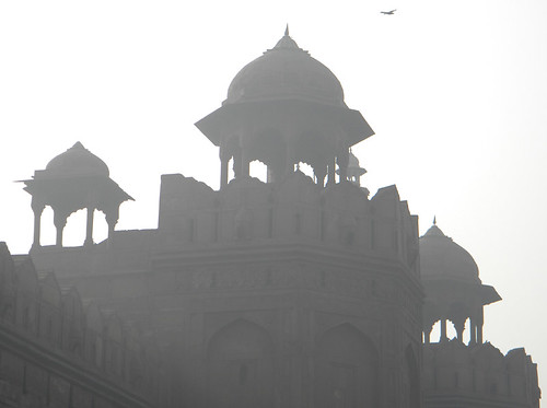 Exterior in the fog of the Red Fort in Delhi, India