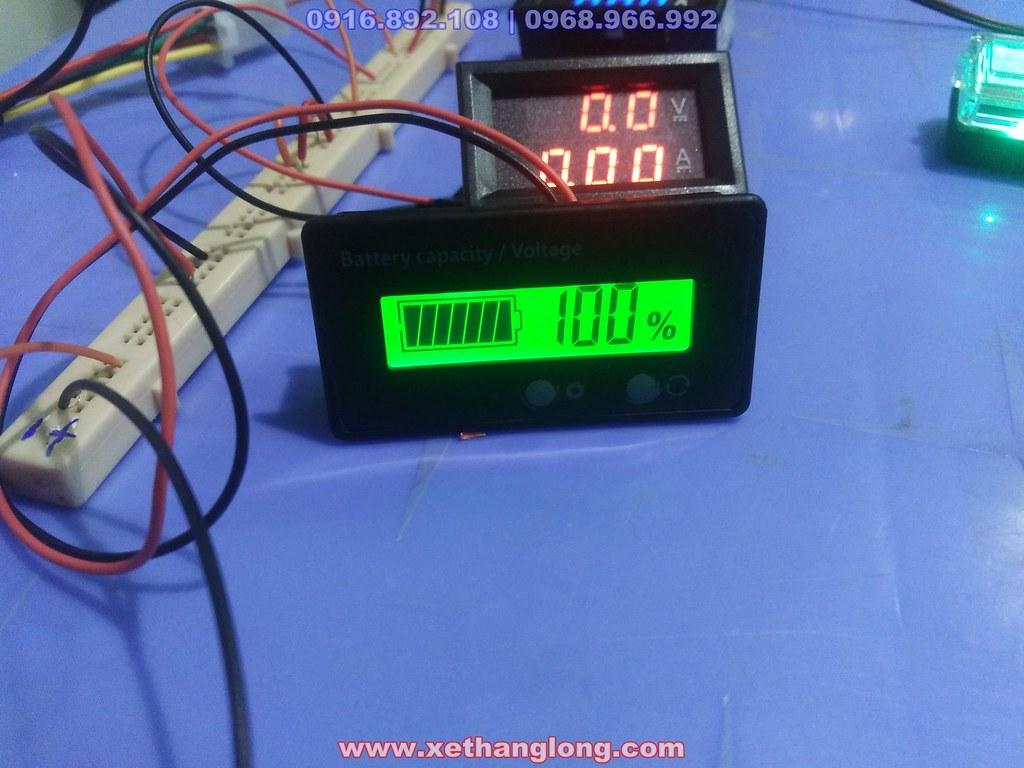 Đồng hồ hiển thị % điện bình theo vạch và số