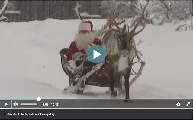 Joulupukki matkaan jo käy. Ruudunkaappaus Yle.fi sivustolta.
