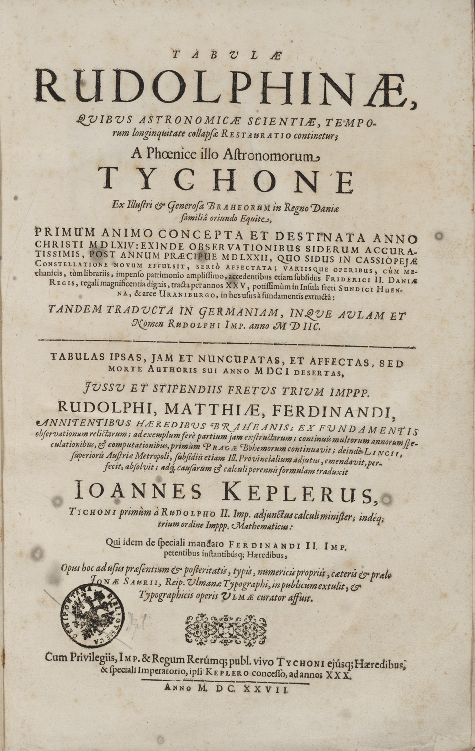 Title page of the Tabulae Rudolphinae, Ulm, 1627