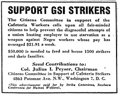 Appeal for aid for cafeteria strikers: 1948