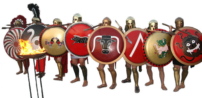Hoplites of Ancient Greece portrayal of a hoplites advancing