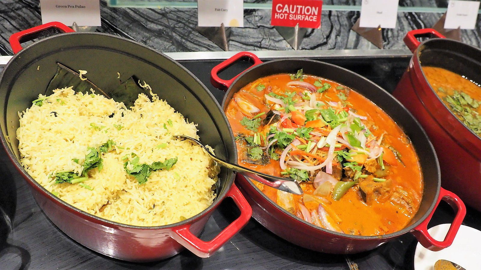 Green pea pulao and curry fish